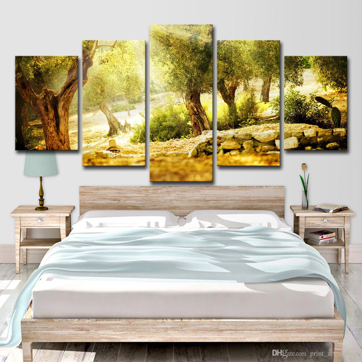 Toile HD Prints Pictures Home Decor 5 Pièces Lumière du Soleil Forêt Arbre Paysage Peintures Affiche Pour Salon Mur Art