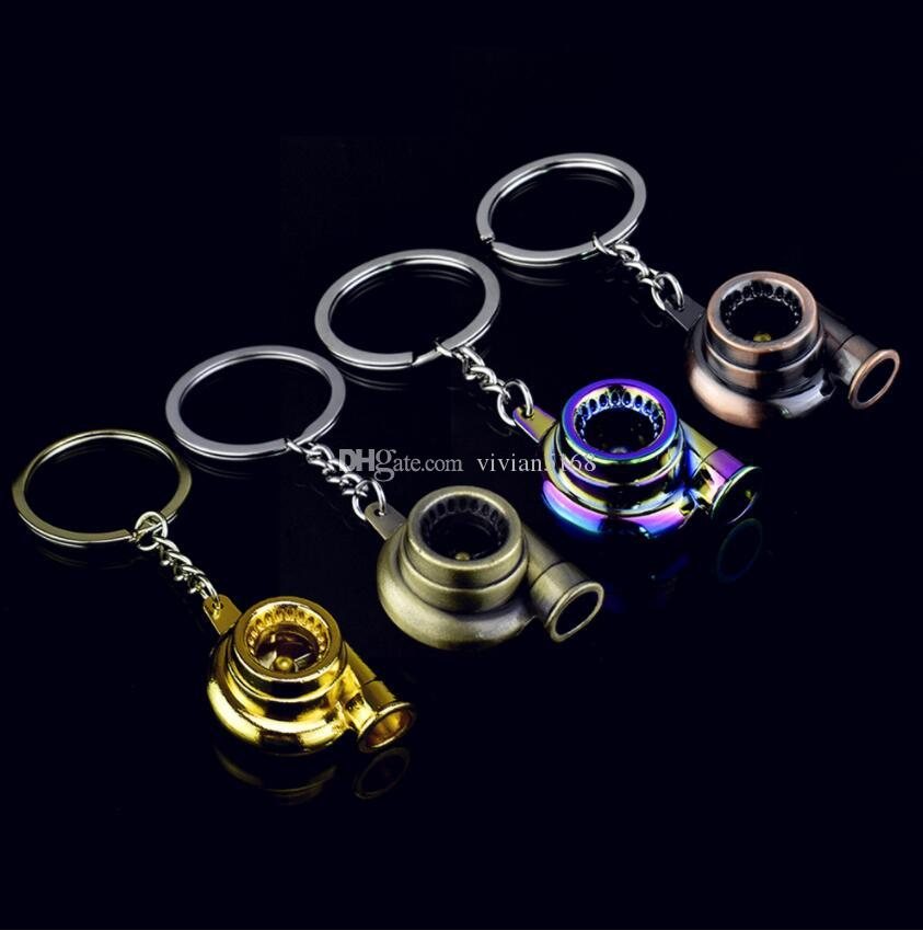 Real Whistle Sound Turbo Keychain Sleeve Bearing Spinning Auto Part Model Turbine Turbocharger Key Chain Ring Keyfob Keyring Free Shipping