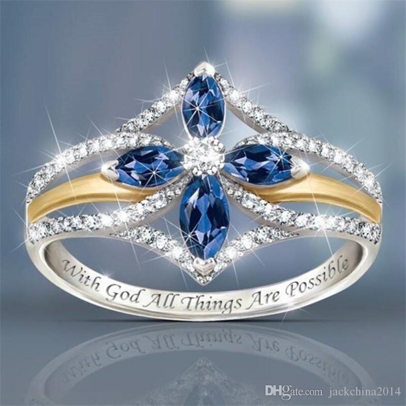Anello vendita calda per le donne annata dei monili 925 delle donne di nozze Sterling Silver zaffiro blu di cristallo del partito di aggancio del diamante Anello Croce