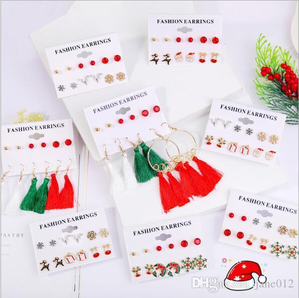 Joyería de los pendientes 6 pares de Navidad pack del copo de nieve de la borla de los pernos prisioneros cuelgan aretes Set Moda para la Mujer