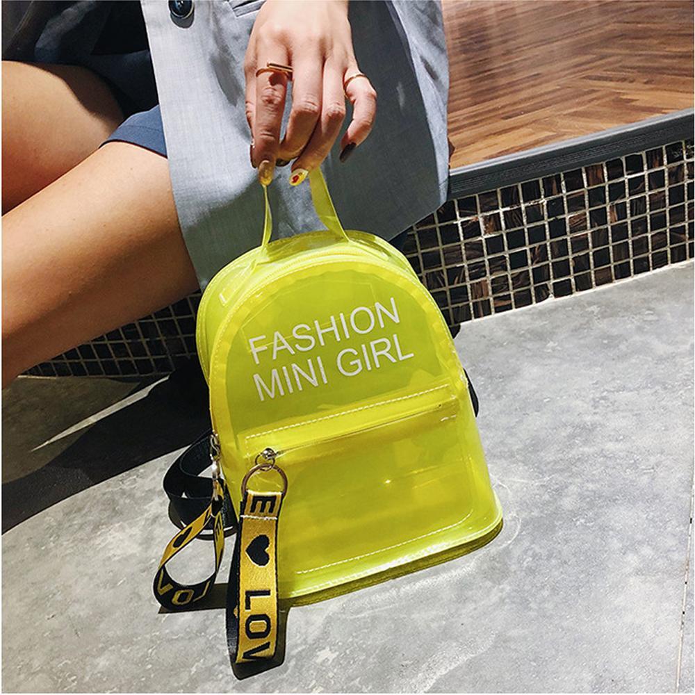 Temizle Sırt Çantası Kadın Mini Şeffaf Su geçirmez PVC Jelly Omuz Çantası Kızlar Öğrenci Casual Sırt çantası Sırt çantası Seyahat Çantası Drop Shipping