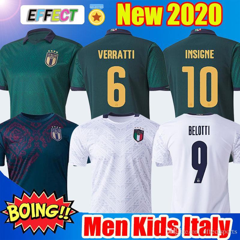 2020 إيطاليا BARELLA SENSI INSIGNE كرة القدم جيرسي 20 21 بعيدا قميص أبيض الثالث كيليني BELOTTI BERNARDESCHI FOOTBALL الرجال الاطفال مع الجوارب