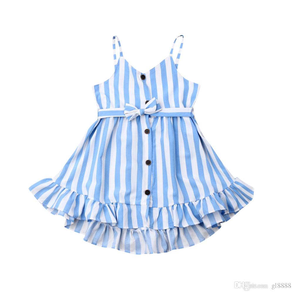 Summer Kids Baby Girl Dress Sleeveless Stripe Button Dress Casual Clothes Set