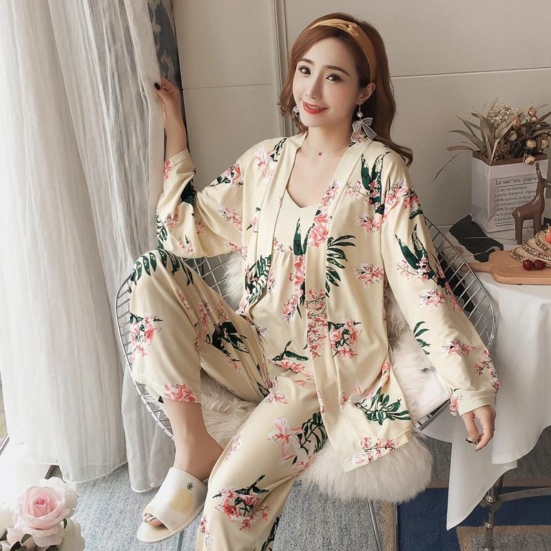 2019 Conjuntos Primavera 3PCS Sexy Cotton pijama para as Mulheres manga comprida Robes Femme Imprimir Pijamas Homewear Pijama Mujer Conjunto de três