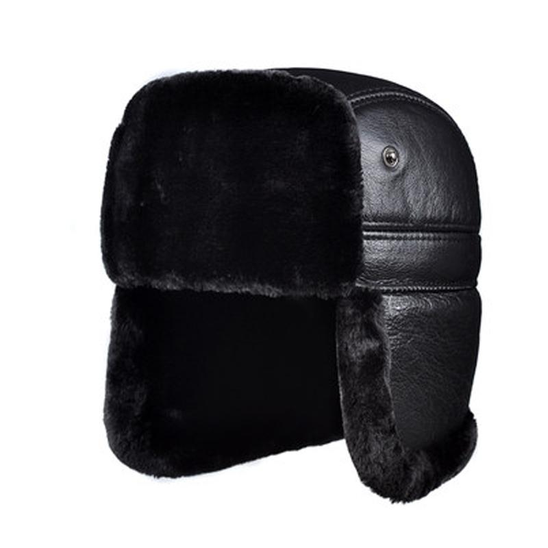 RY964 Male Winter Genuine Leather Faux Fur Black/Brown Bomber Hat For Men Ear Head Warm Moto Caps For Dad Dome Gorras Hombre Y200110