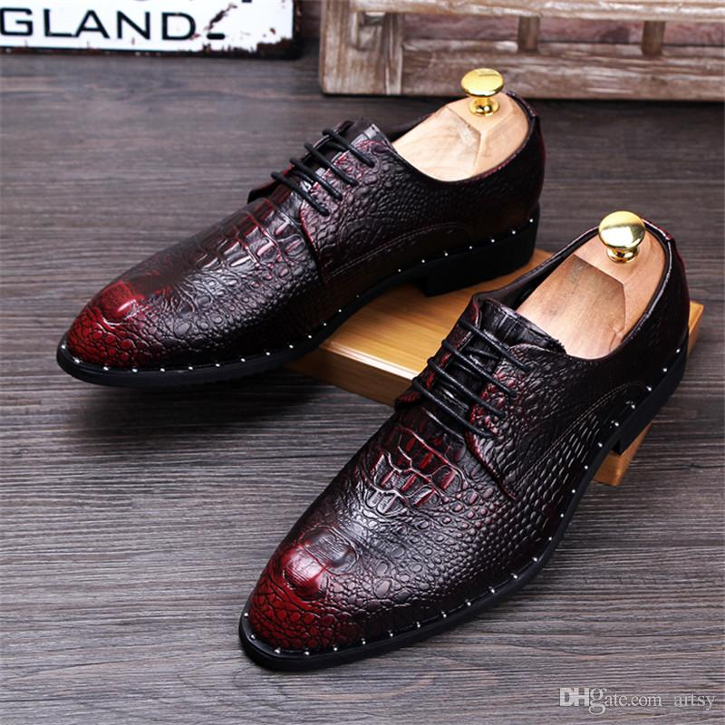 Men's Crocodile Grain Genuine Leather Dress Shoes Fashion Man Pointed Toe Casual Wedding Party Oxfords Mens Lace-Up Business Flats