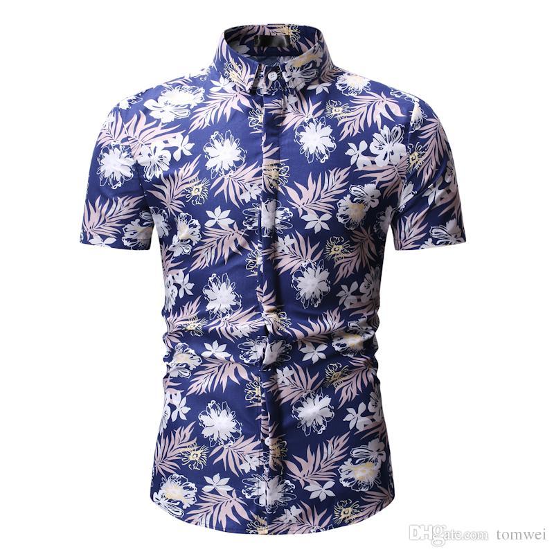 Camisa da forma Dos Homens Slim Fit Camisa de Manga Curta Camisas De Grandes Dimensões Para O Verão Formais Tops Tees Roupas Masculinas Azul Preto Vermelho 8 pcs