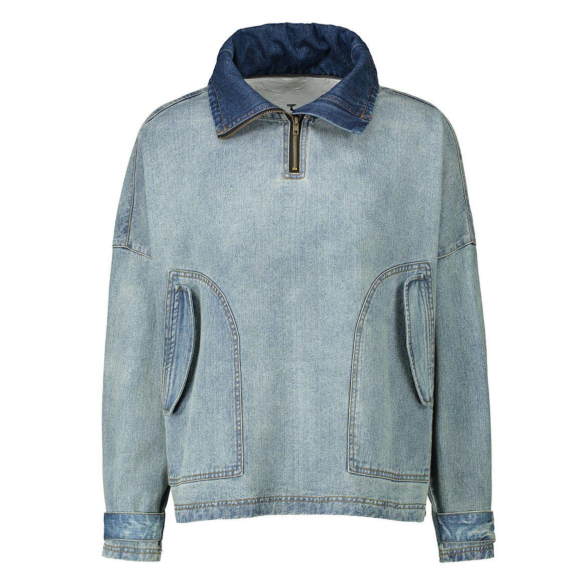 Mens Denim Jacket Europa Tide Marca Mens Colarinho alto do ombro solto Retro Jacket bolsos grandes 2020 Meninos Outono Casual Wear Top Quality