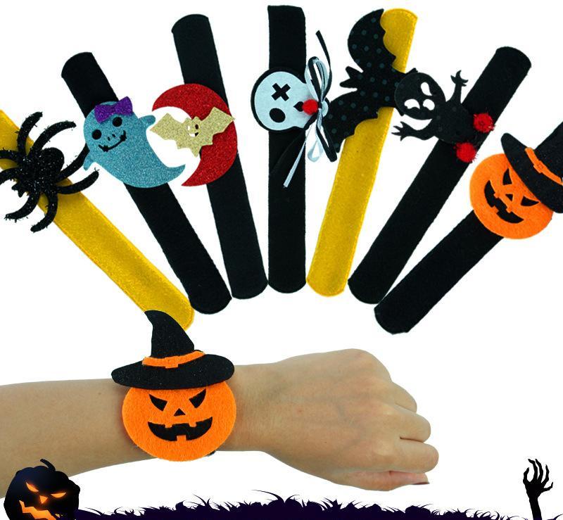 Halloween Slap Clap Bracelet Party Decorations Bat Pumpkin Ghost Shape Series Clap Plush Pat Hand Circle Toy Bangle for Children