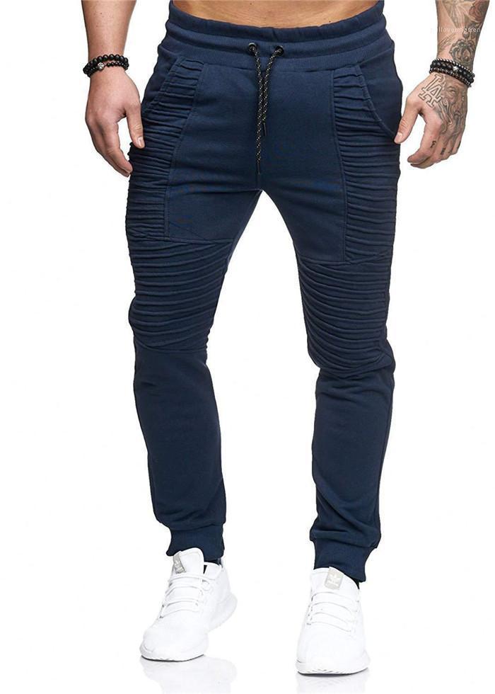 Pantalon Designer Casual Homme High Street Pantalons Hommes Pantalons simple rayé Slim Fit solide Lace Up