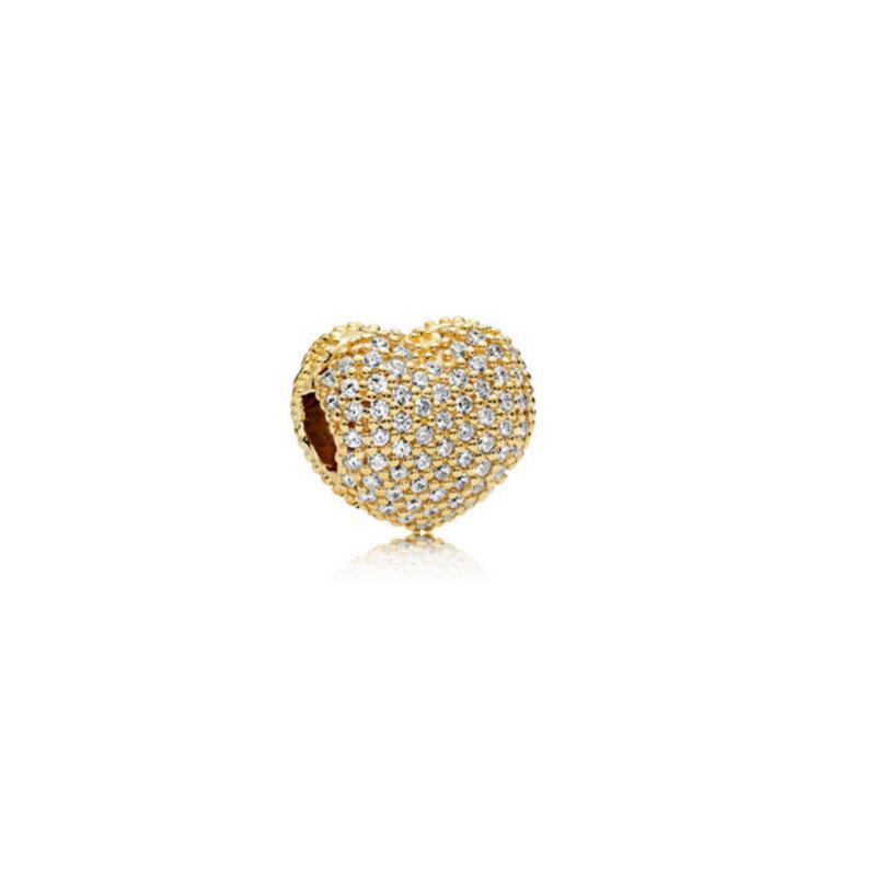 Fit 925 argento placcato oro placcato charms perline perline ciondolo fai da te a forma di cuore a forma di branelli braccialetti braccialetti per le donne gioielli all'ingrosso