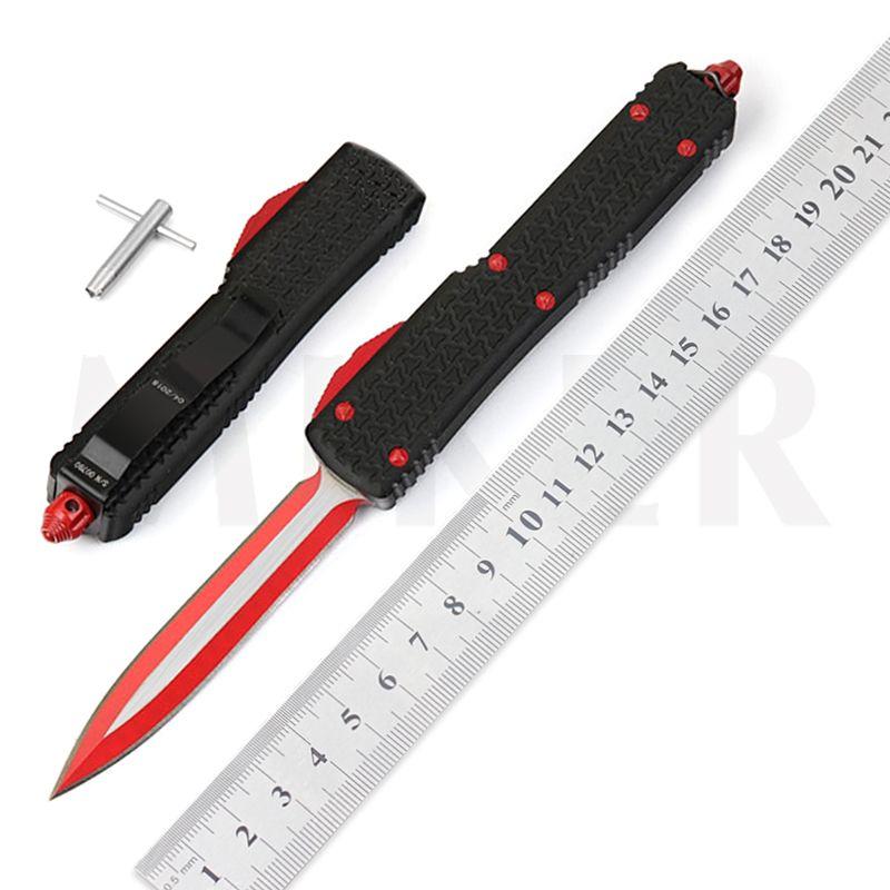 Ücretsiz nakliye Miker 4-d2 kırmızı / iki ucu keskin taktik bıçak alüminyum kamp av bıçağı sapı siyah / mavi özel yapılmış