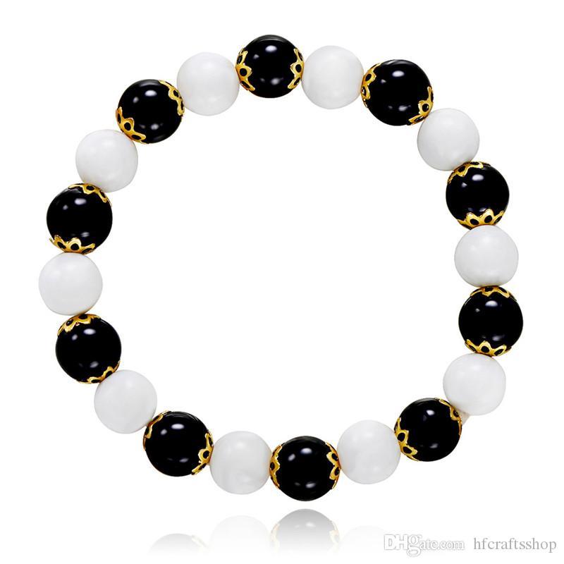 Siyah Beyaz Boncuk Karışık Bilezik Streç Bilezik Takı Elastik Halat Moda El Yapımı Hediye Erkekler / Kadınlar için Toptan 10 adet / grup