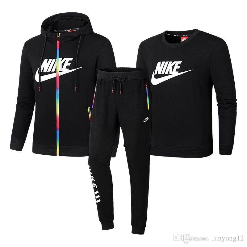2019 Erkekler Eşofman Seti Hood Baskı 2 Paket Hoodies + Pantolon Tişörtü Erkek 3 Parça Set Hoodies Spor Suit Ceket