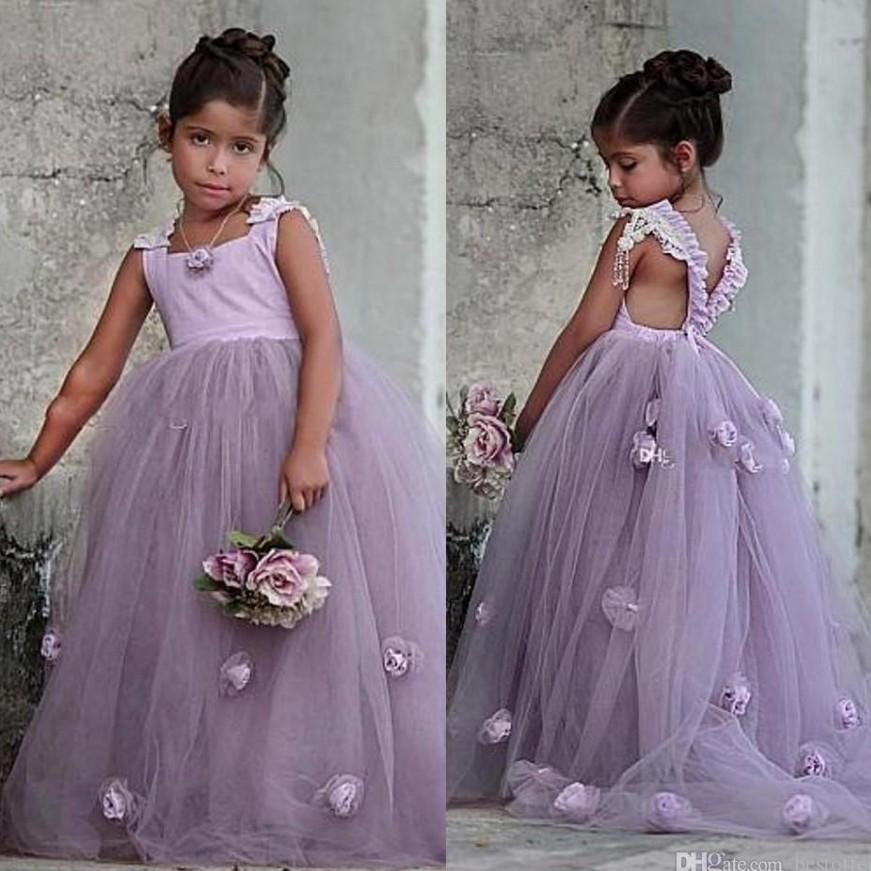 2020 Boho Beautiful Lavendar Flower Girls Dresses 3D Flowers Girls Pageant Gowns for Kids Wedding Party Criss Cross Back Sweep Train