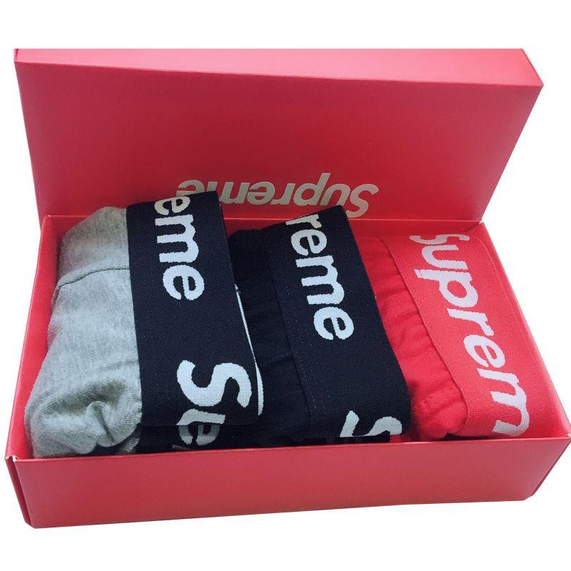 Kemer S Harf Popüler Logolar İç Gençler Nefes Pamuk Erkekler Boxer Kırmızı Hediye Kutusu Paketli