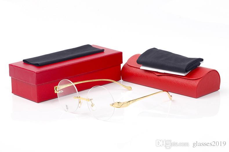 Vogue Luxury Round Sunglasses Women Decoration Cheetahs Eyeglasses Rimless Clear Lens Goggles Men Optical Anti Blue Ray Glasses