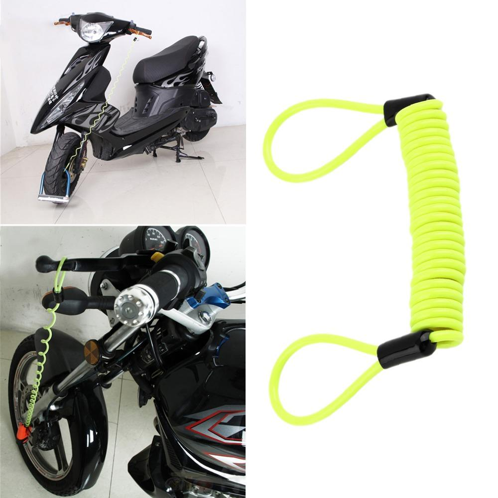 HOT 150cm Alarm Disc Lock Security Spring Reminder Cable For Motorcycle