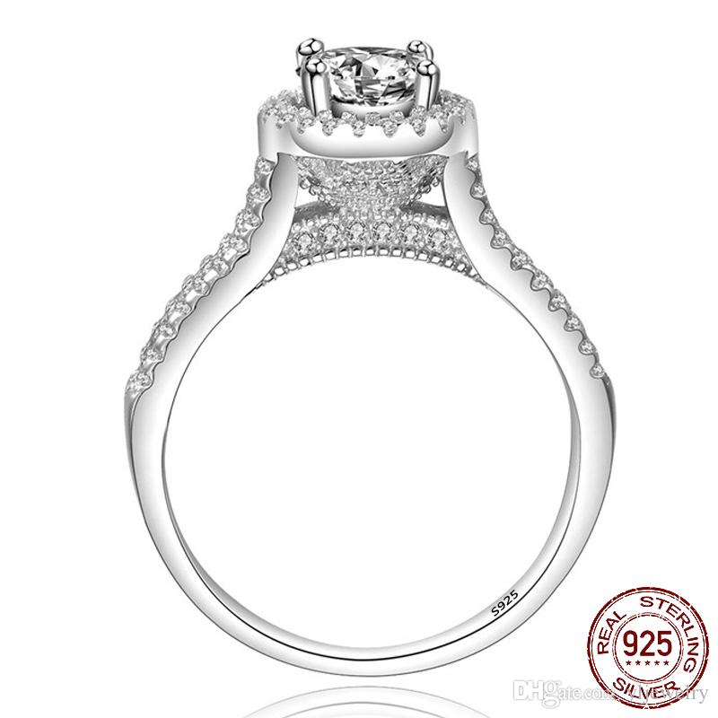 Luxury Double Row Classic 1ct 6mm Round CZ Diamond Ring Original 925 Sterling Silver Wedding Rings for Women Bridal Engagement Jewelry XR090