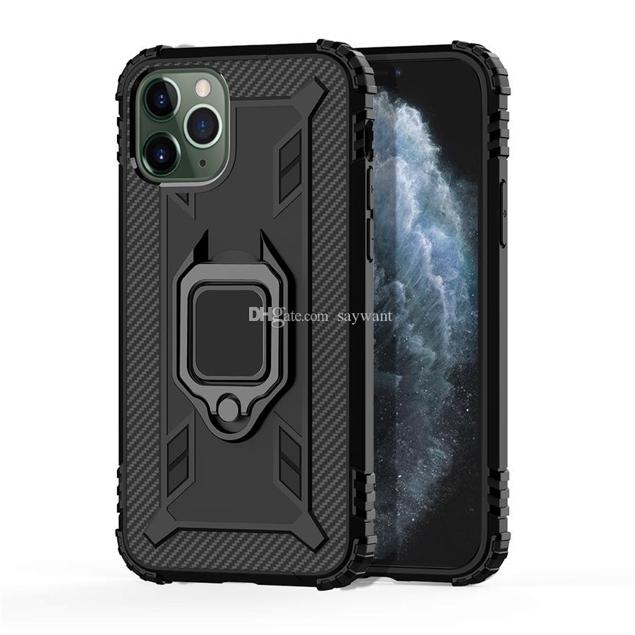 Углеродное волокно кольцо кронштейн телефон чехол для iPhone 11 Pro XS Max XR 7 8 Samsung S20 Ультра Примечание 10 HUAWEI P умных