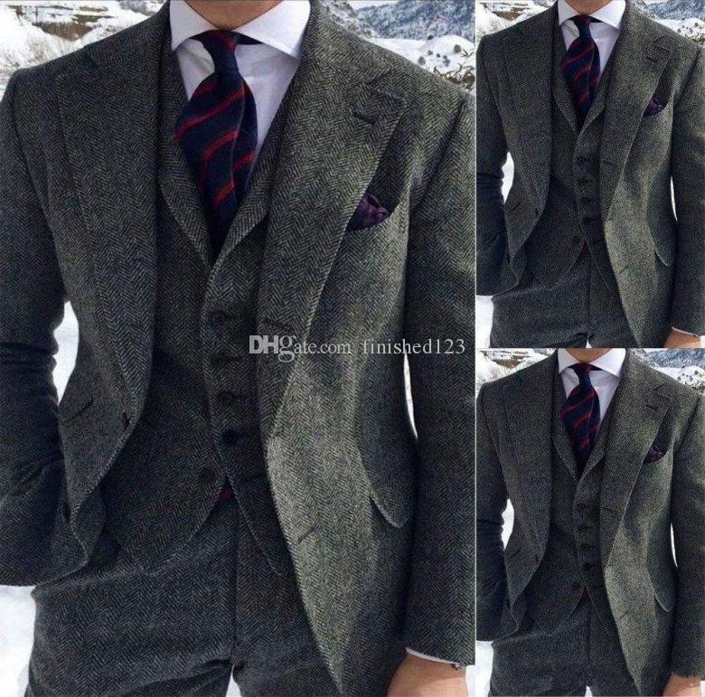 High Quality Two Buttons Gray Tweed Wedding Groom Tuxedos Notch Lapel Groomsmen Men Formal Prom Suits (Jacket+Pants+Vest+Tie) W149
