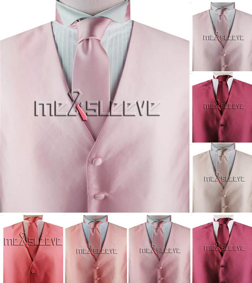 free shipping Men's solid luxury fabric Suit Formal tailored Vest with necktie+hanky