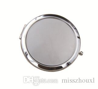 300pcs Free Shipping 70mm Pocket Compact Mirror favors Round Metal Silver Makeup Mirror Promotional Gift