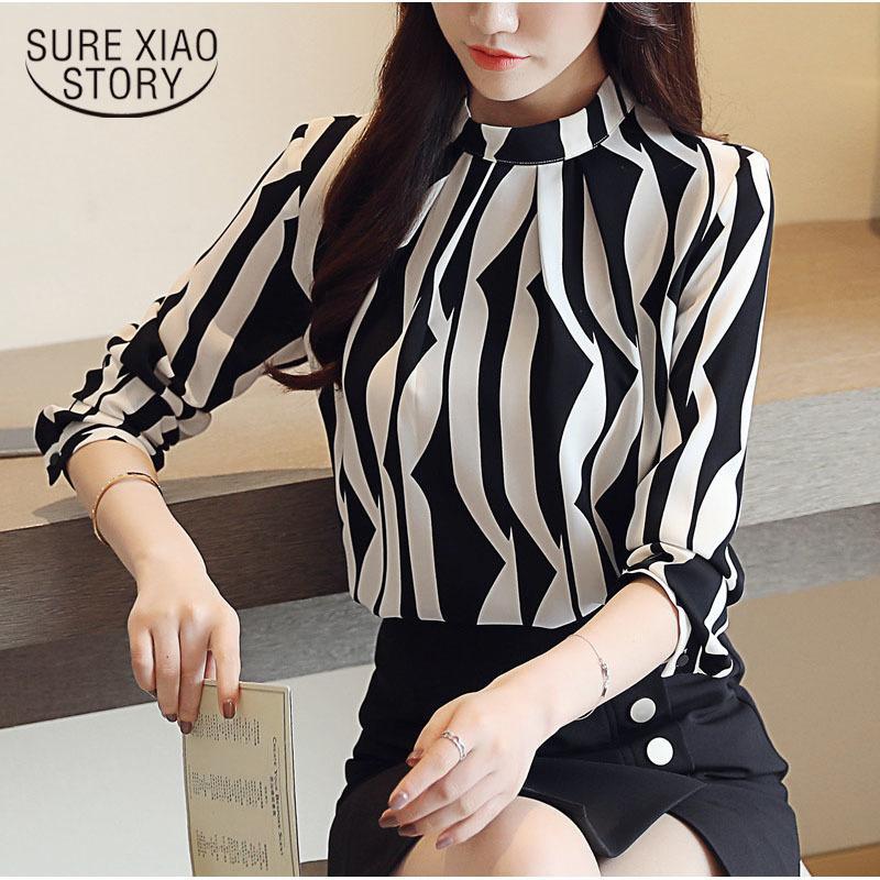 2018 yeni geldi moda kadınlar bluz uzun kollu baskılı kadın üst standı yaka bluzlar slim fit ofis bayan blusa 0941 40 T519053101