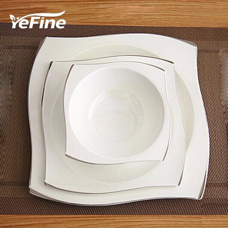 YeFine avanzada hueso Vajilla de Porcelana Escuadra Platos platos de alta calidad blanca de vajilla de cerámica fija sopa cuencos T200107