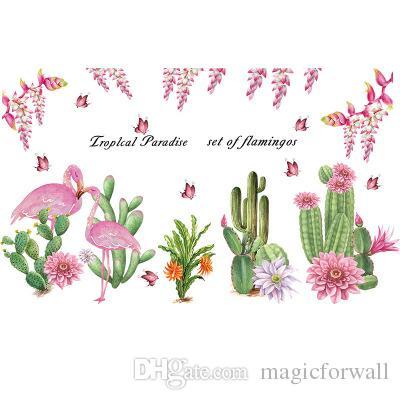 Cactus con flores Flamingo pegatinas de pared sala de estar dormitorio mural de la pared del arte del cartel decoración del hogar apliques calcomanías