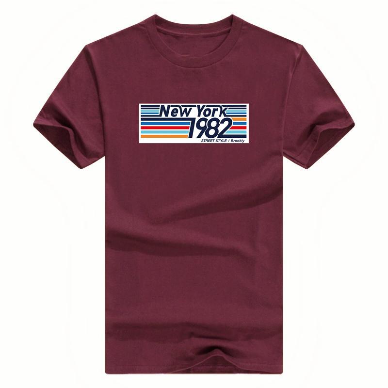 2019 새로운 T 셔츠 남성 100 %면 T 셔츠 여름 티 남성 보이 스케이트 뉴욕 1982 인쇄 패션 t- 셔츠는 짧은 탑