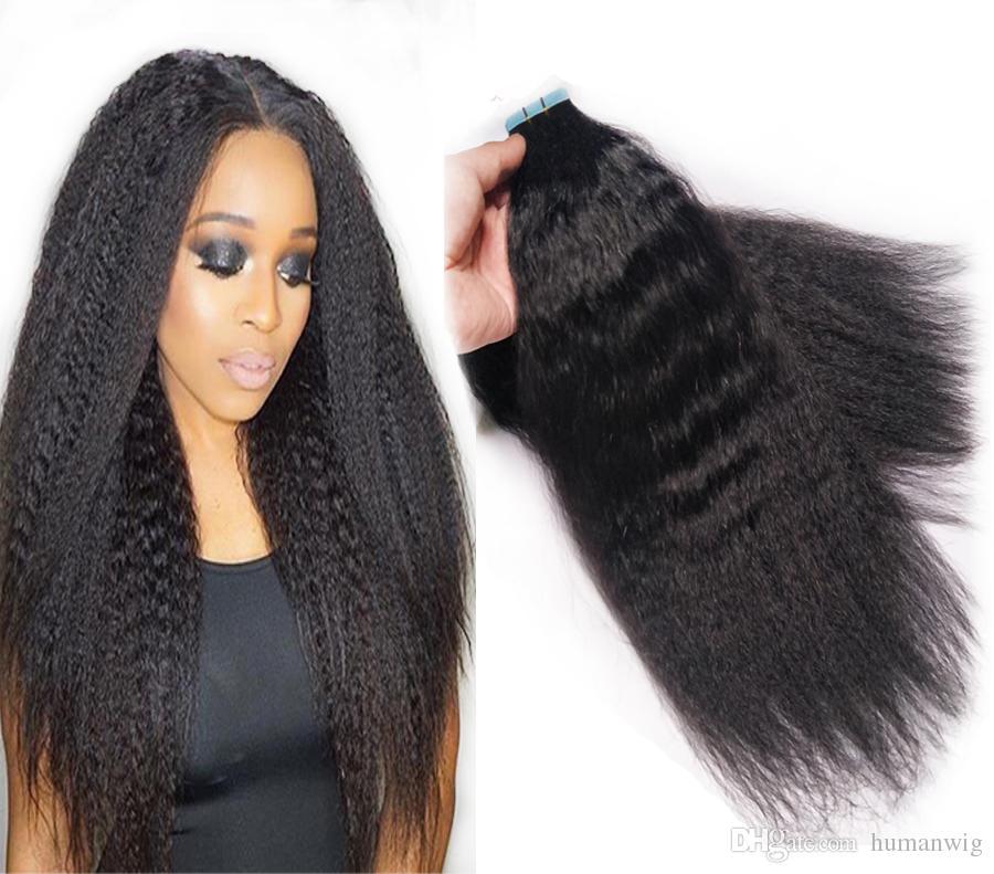 Fashionable Coarse Yaki Skin Weft Tape In Human Hair Extensions 100g 40pcs Virgin Brazilian Kinky Straight Hair 16
