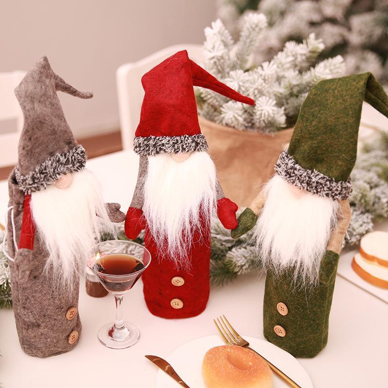 SOLEDI No Face Puppe Mode Rotwein Set Weihnachtsdekor Festival Abendtisch Praktische Champagne Abdeckung Ornament