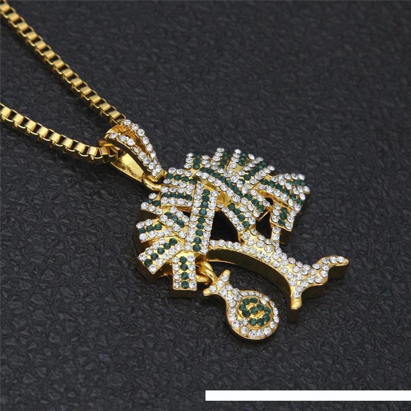 Collana placcata di lusso Dollari Albero di fascino del pendente collane Moda Uomo freddo dell'oro regalo dell'amante Gioielli Money Tree Collane