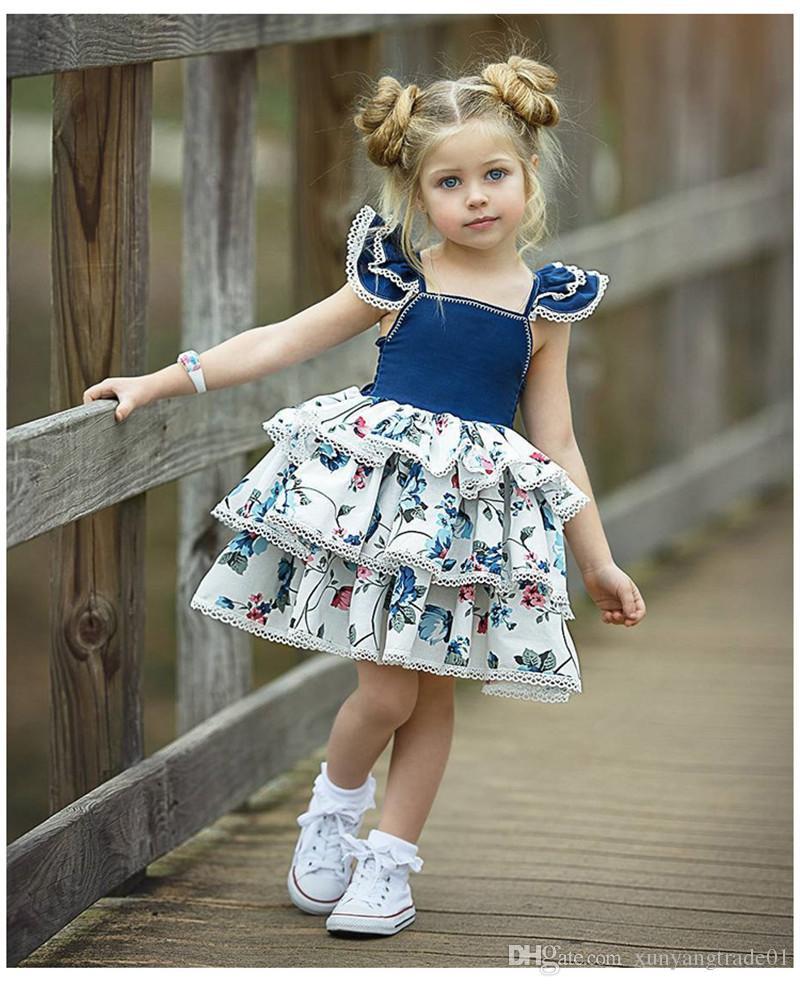 여자 드레스 아이 옷 여름 비행 소매 레이어드 레이스 조끼 스커트 아이 아이 비치 드레스 공주 드레스 뜨거운 Q133