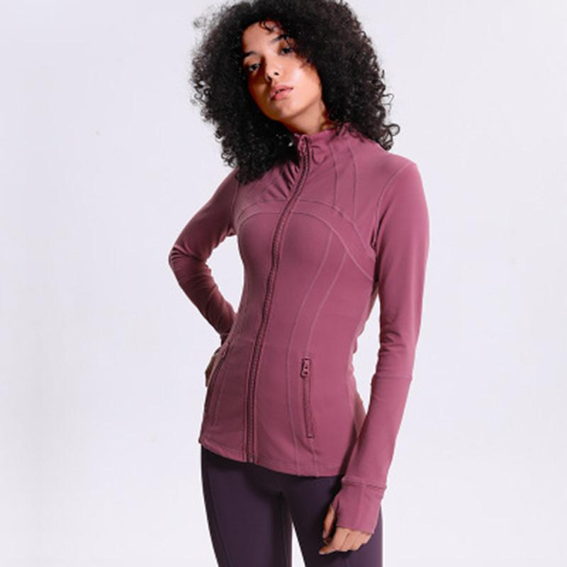 2019 Nueva Ejecución de la capa de deporte Yoga tramo alto de mujeres de las chaquetas sin fisuras Gimnasio Top ropa de la aptitud de nylon con cremallera con capucha mujeres
