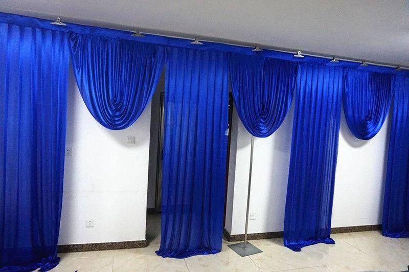 3M عالية * 6M الملكي اسعة سوجس الزرقاء المصمم زفاف تصاميم خلفية حزب الستار الستائر الاحتفال المرحلة الأداء خلفية الحرير الستارة