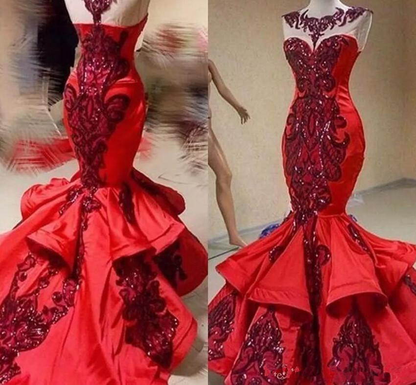 Sparkly Red paillettes Appliques sirena convenzionali del partito dei vestiti da sera 2020 Prom Dress Nuova lucido Jewel collo Fishtail Red Carpet Pageant Abiti