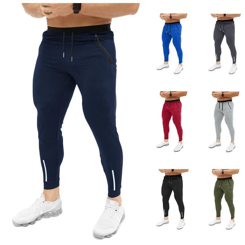 Mens Sweat Pants Slim Fit 2019 Euro Size Solid Color Drawstring Pocket Zipper Design Small Foot Sweatpants