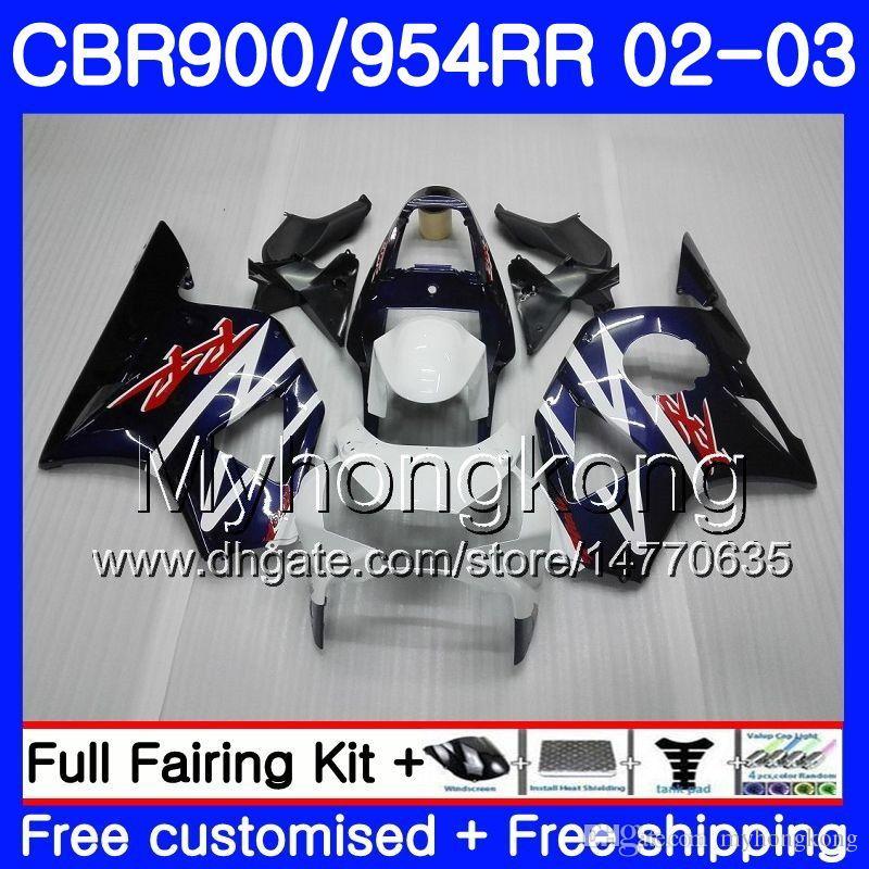 HONDA 용 CBR900RR CBR 954 RR CBR900 RR CBR954 RR 280HM.0 CBR 900RR CBR954RR 02 03 CBR 954RR 2002 2003 Fairings kit 공장 파란색 흰색