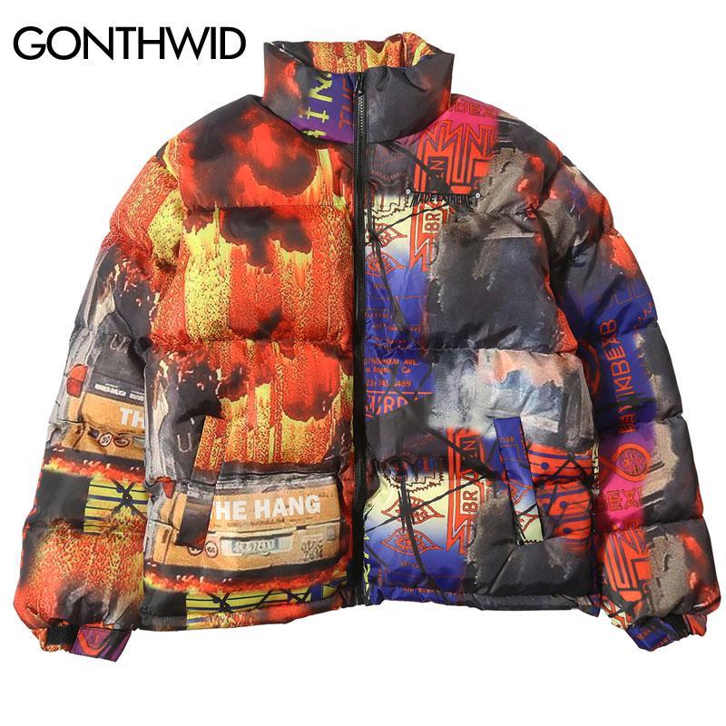 GONTHWID Colorful Graffiti Print Windbreaker Puffer Cotton Padded Parkas Streetwear Hip Hop Winter Thick Warm Parka Jackets
