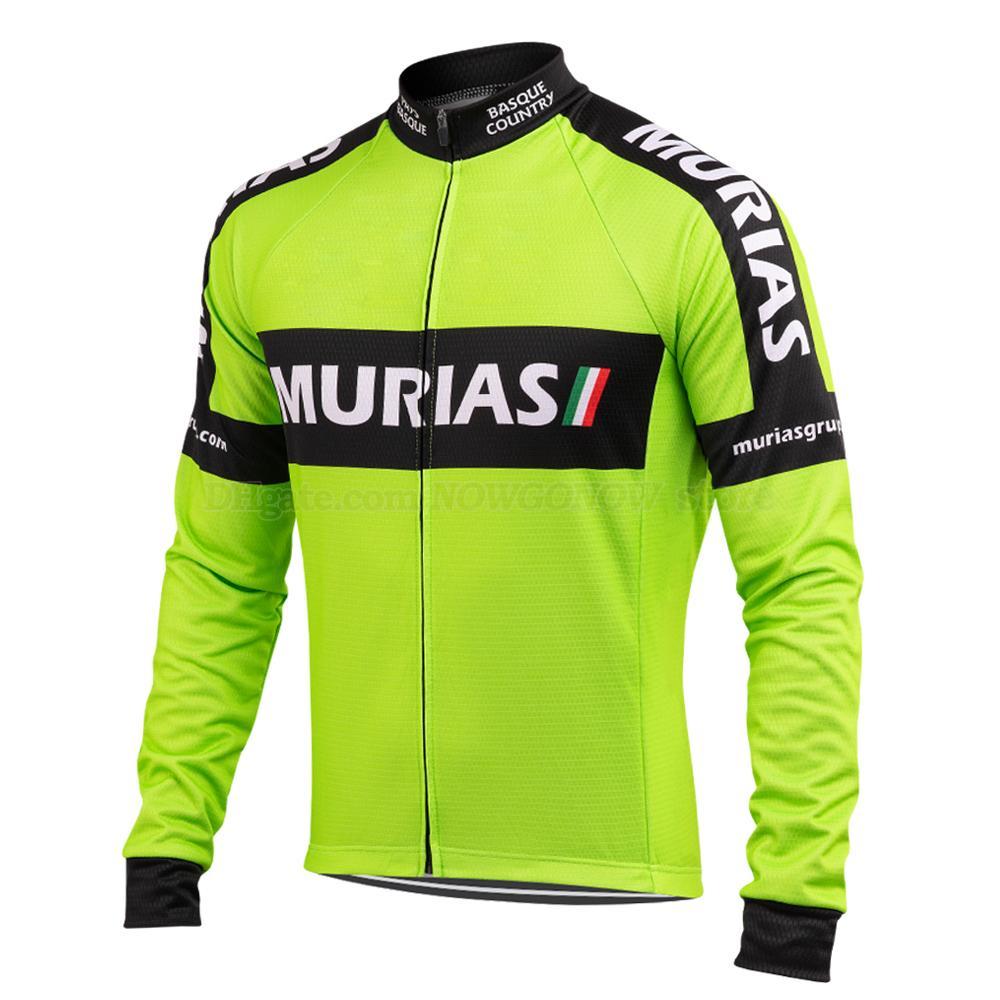 2019 프로 사이클링 저지 팀 남성 녹색 검은 색 긴 소매 여름 얇은 / 겨울 양털 도로 경주 자전거 마모 의류 프로 팀 자전거 의류