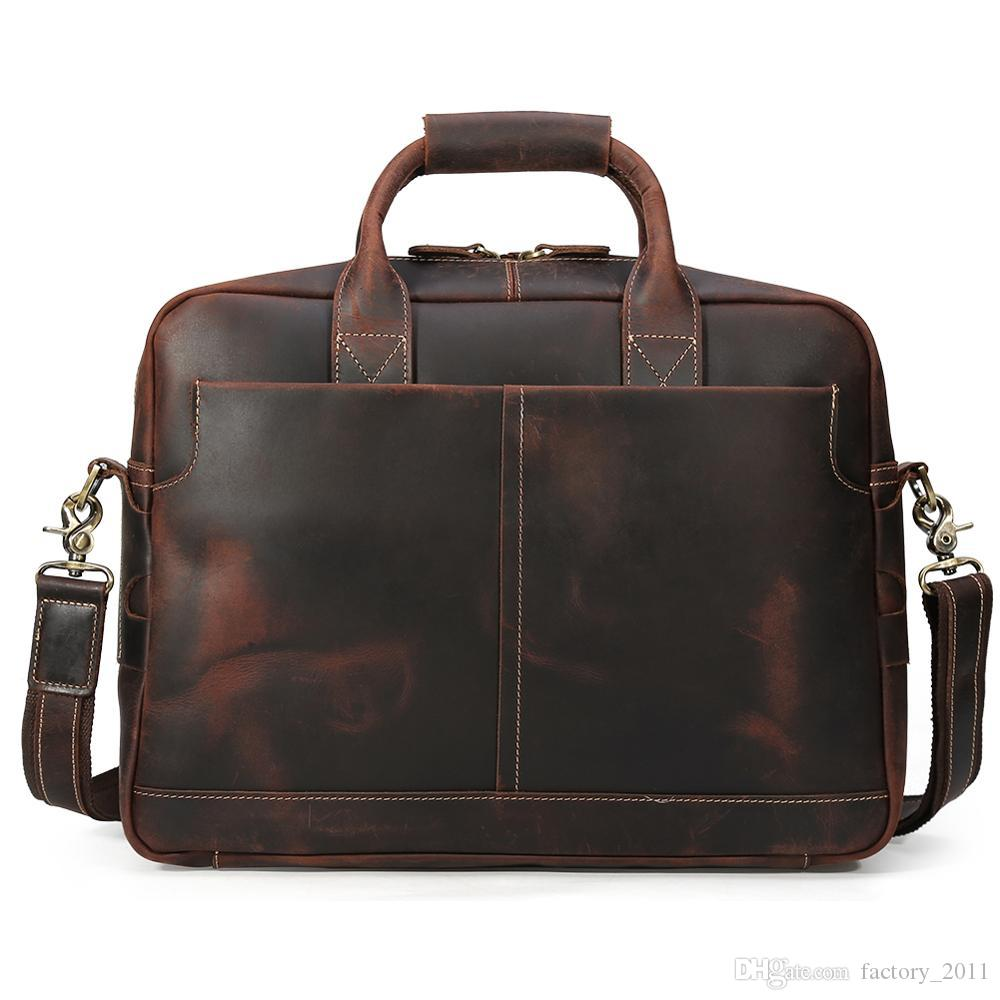 Executive Leather Briefcases Popular Vintage Business Men Briefcase Large Capacity 16 Inch Laptop Bag OEM Cowhide Brief Case Hot Sell LX1436