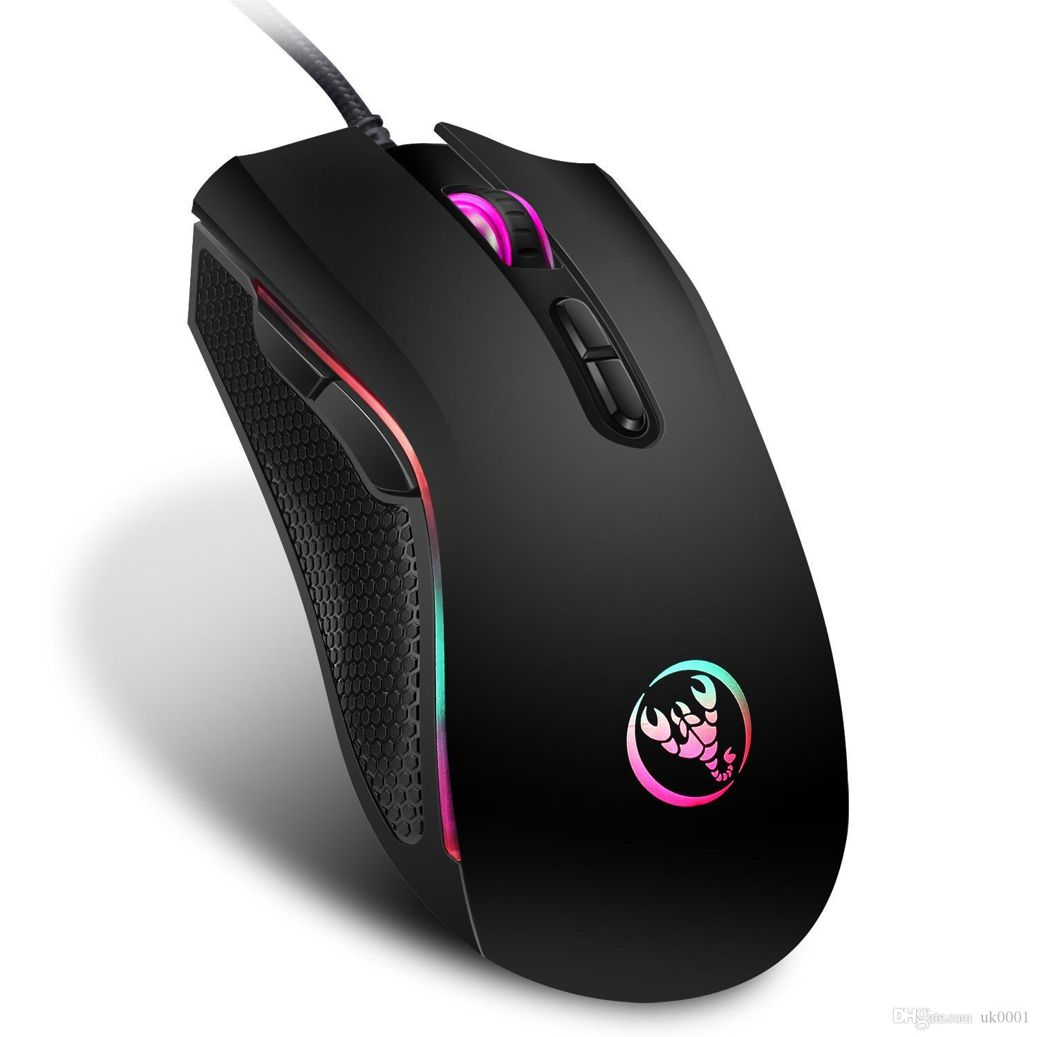 High-end optical professional gaming mouse with 7 bright colors LED backlit and ergonomics design For LOL CS mice uk0001