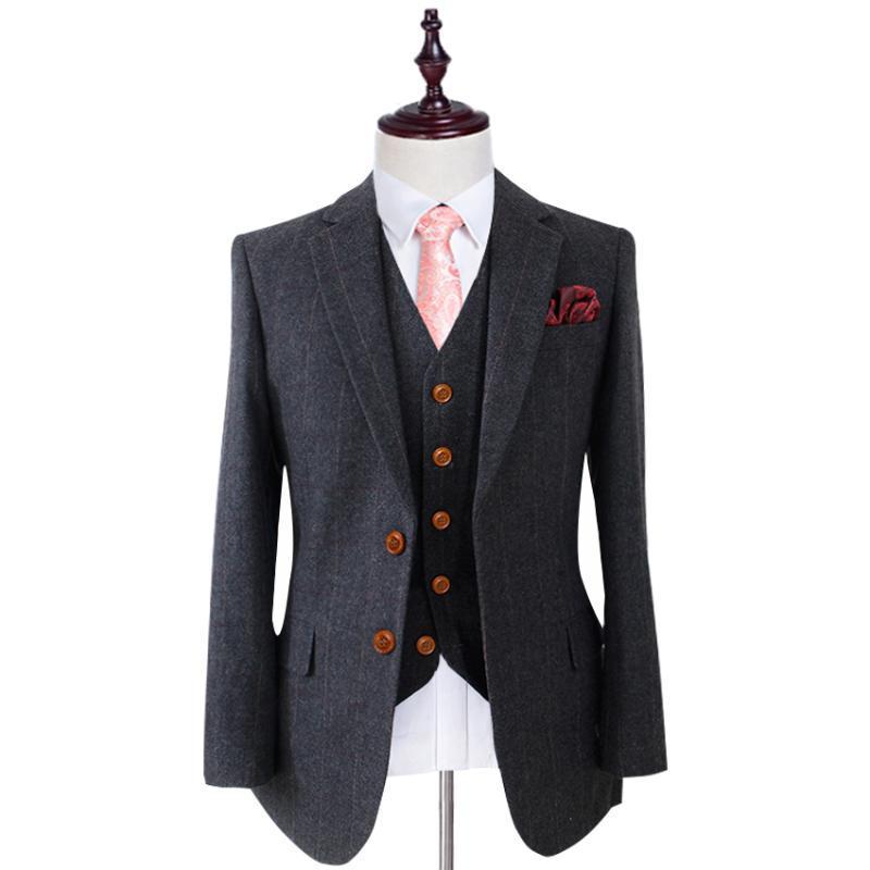 Wolle Schwarz Herringbone Tweed Tailor Slim Fit Hochzeit Anzüge für Männer Retro-Herr-Art nach Maß Mens 3 Stück Anzüge