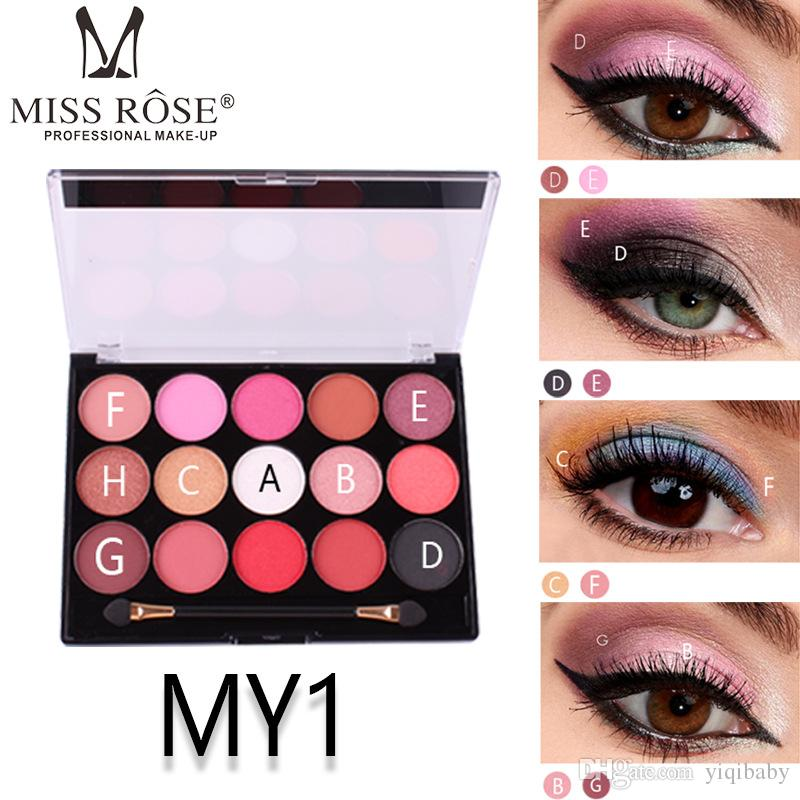 Wholesale MISS ROSE 15 color pearlescent matte eye shadow professional makeup multicolor eye shadow tray free shipping