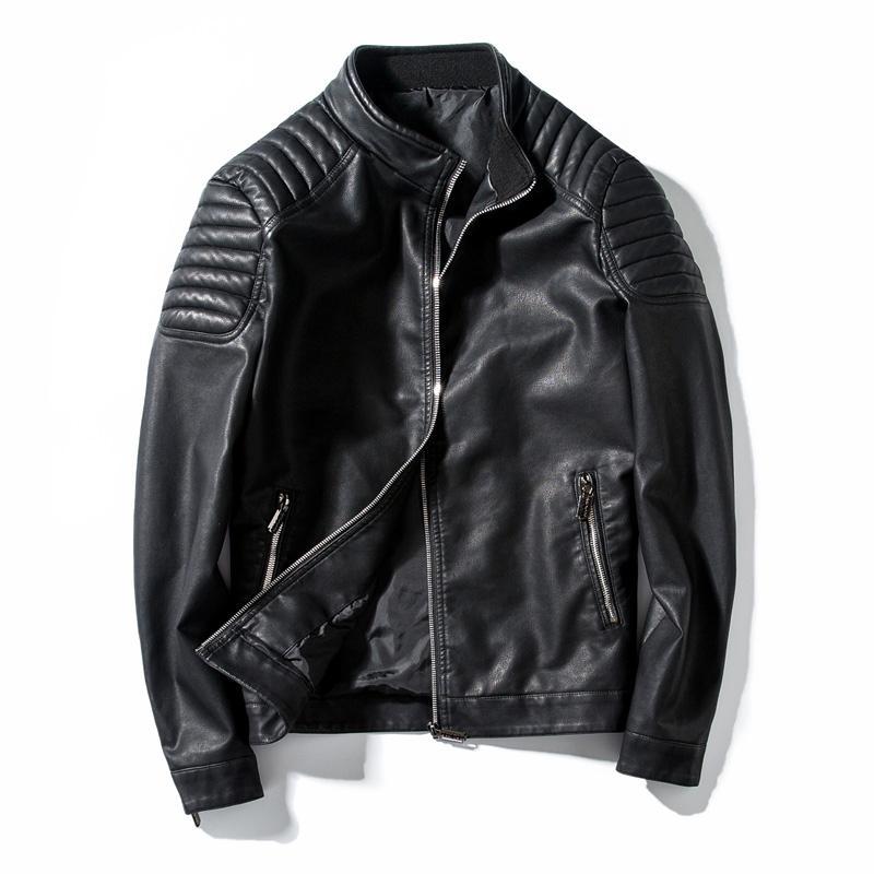 Primavera motorista otoño chaqueta de cuero de piel de los hombres de la motocicleta de la PU ocasionales adelgaza Outwear Hombre Negro ropa más el tamaño M-4XL T200117