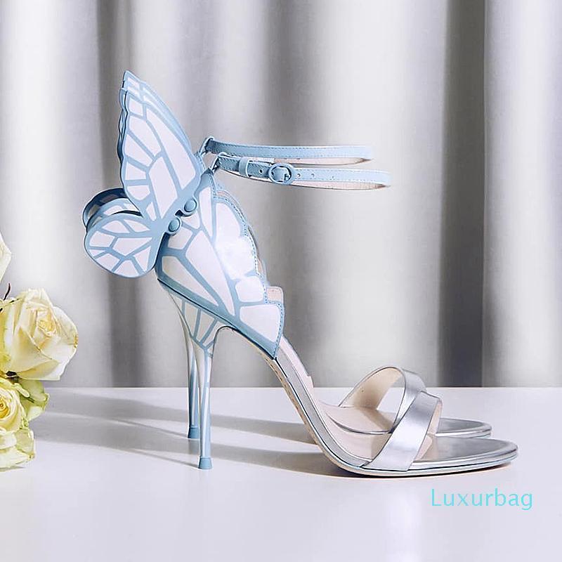 La venta caliente-Sophia Webster Evangeline del ala del ángel sandalias de la boda del cuero genuino bombea más el tamaño euro 35-42 mariposa gladiadores Mujeres