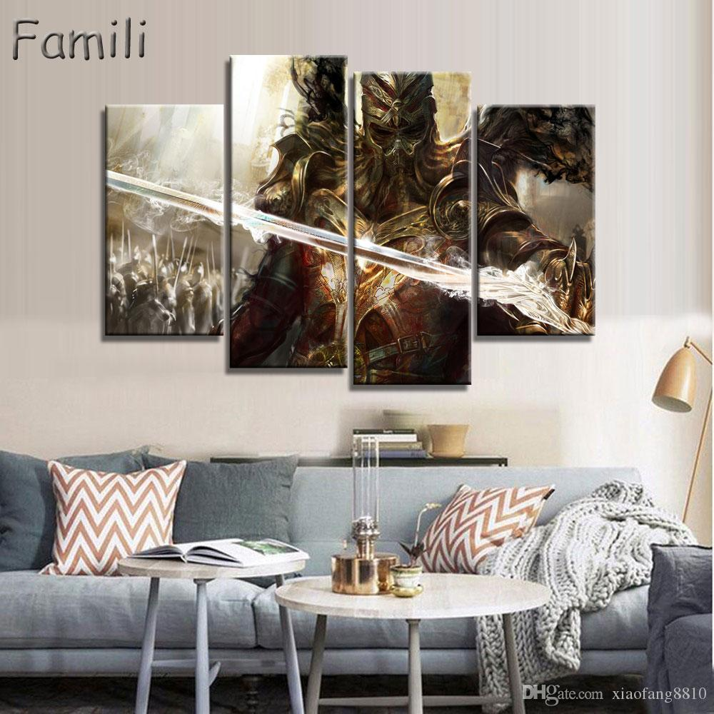 4pcs large HD printed oil painting Angel Girl canvas print art home decor idea wall art pictures for living room