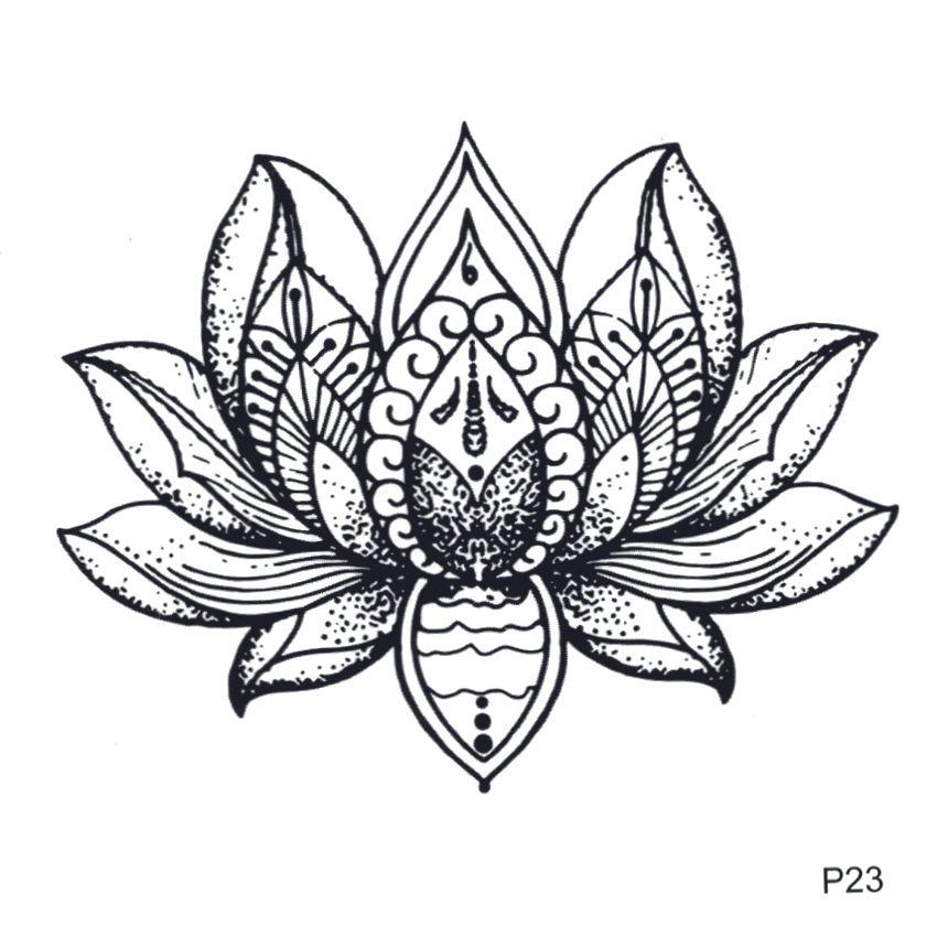 Lótus À Prova D 'Água Etiqueta Do Tatuagem Temporária Flor Tatuagem Falsa Para Homens E Mulheres Harajuku Beaty Flor Tatoo Adesivo